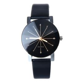 Analoge Quartz Horloge zwart met strass