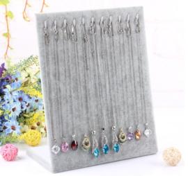 Armbanden / ketting display fluweel grijs