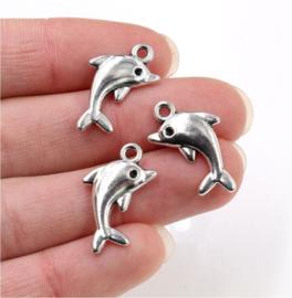 9 stuks metalen bedels - hangers dolfijnen 23x13 mm