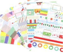 6 velletjes washi stickers agenda - bullet-journal 8.3cmX13.5cm