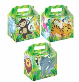 12 stuks menu box - traktatie box jungle - wilde dieren 14 x 9,5 x 18 cm