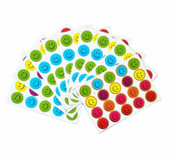 200 smiley stickertjes multi color / 10 velletjes