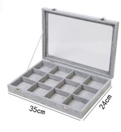 Display koffer met 12 vakken grijs velours