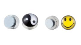 2 paar RVS magnetische oorbellen Smiley en Ying Yang