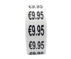 500 stuks prijsstickers 9,95 op rol wit