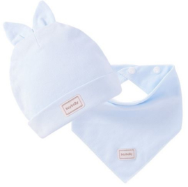 Baby muts met oortjes + sjaaltje lichtblauw