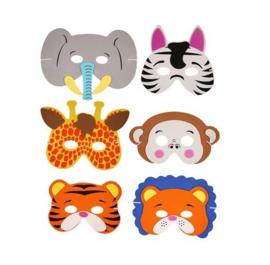 6 stuks verschillende foam dieren maskers