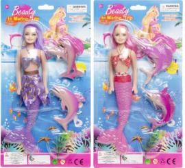 2 pakketten zeemeermin meisjes met dolfijnen en vissen paars en roze