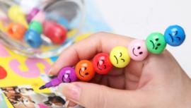 2 stuks Smiley stiften met 7 kleuren