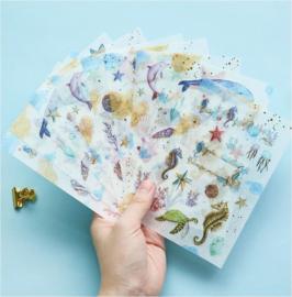 3 velletjes washi stickers zeedieren