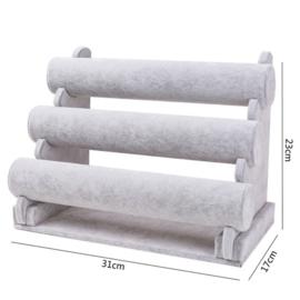 Armbanden display grijs 3 rollen