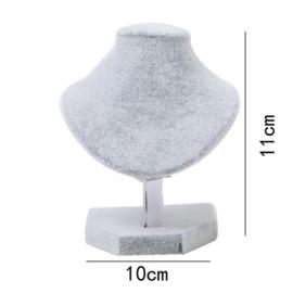 Ketting display fluweel grijs 11 cm