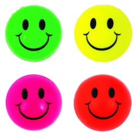 20 stuks stuiterballen neon kleuren smiley 3,3 cm