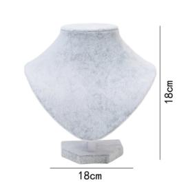 Display hals fluweel grijs 18 cm
