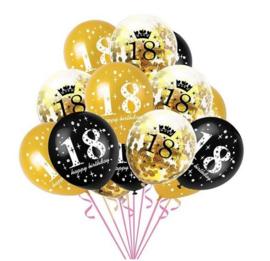 15 stuks ballonnen 18 jaar happy Birtday incl. confetti ballonnen