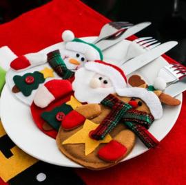 6 stuks bestekhouder kerst tafeldecoratie
