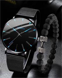 Cadeauset heren horloge casual + armband in cadeaudoosje