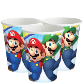 16 stuks kartonnen bekers Super Mario 250ml