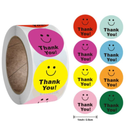 500 stickers op rol Smiley multicolor Thank You 2,5 cm