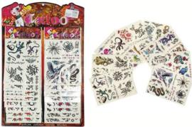 Ophangdisplay met 16 vellen tijdelijke tattoo's