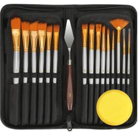 Complete schilders set 15 penselen - paletmes - spons in etui