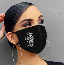 Fashion mondmasker met strass herbruikbaar - wasbaar