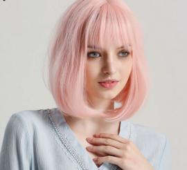 Pruik roze syntetisch bob-lijn
