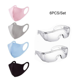 Pakket 2 spatbrillen + 4 wasbare mondmaskers - veiligheidspakket