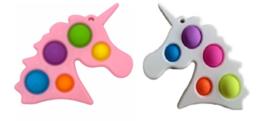 2 stuks Pop it Unicorn roze en wit - fidget toy - 15 x 16 cm