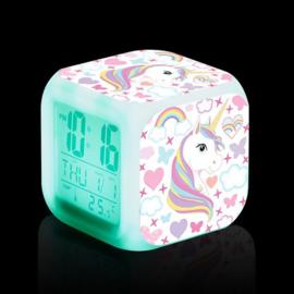 Digitale wekker unicorn - kleurveranderd - nachtlampje