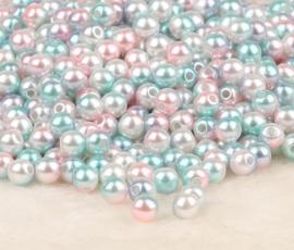 100 stuks parelmoerkralen blauw/roze/wit 8mm