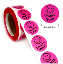 500 stickers op rol Smiley roze Thank You 2,5 cm