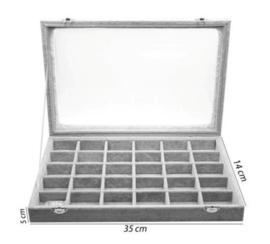 Display koffer 30 vakjes grijs velours