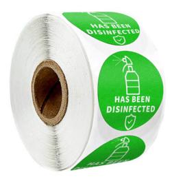 300 stuks stickers op rol Has been Disinfected 3,8 cm