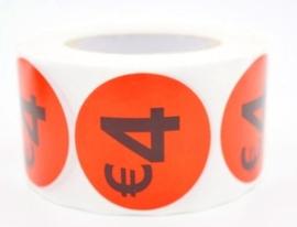 Prijs/Korting 4 euro stickers 500 stk - Dia: 2cm