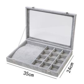 Armbanden en accessoires koffer grijs met deksel