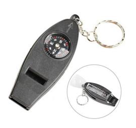 Multifunctionele sleutelhanger met kompas - thermometer - fluitje - vergrootglas