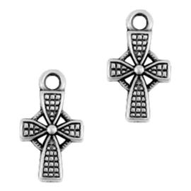 15 stuks metalen bedels/charm cross Antiek zilver (nikkelvrij)