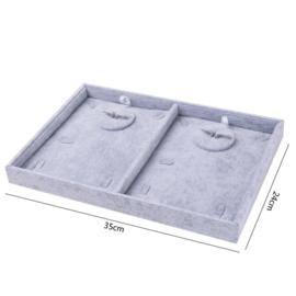 Display fluweel grijs voor 2 sets ketting-oorbellen-ring