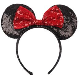 Diadeem Minnie Mouse oren zwart met rode strik pailetten