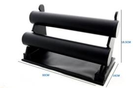 Armbanden display lederlook zwart 2 rol