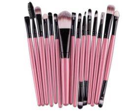 15-delige make-up kwasten set roze