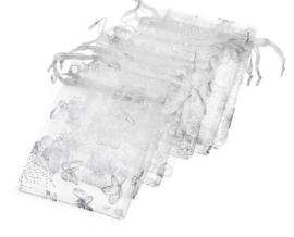 50 stuks organza zakjes zilverkleur motief vlindertjes 13x18cm