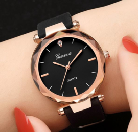 Dames horloge zwart siliconen band