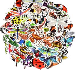 50 stuks stickers vlinders - insecten 3-8 cm