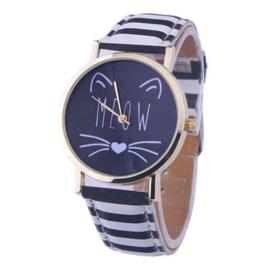 Horloge zwart wit kat MEOW