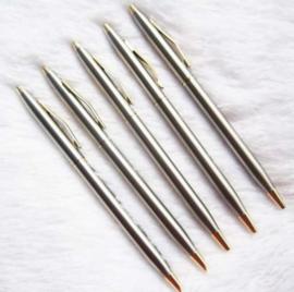 5 stuks RVS balpennen - blauwe inkt