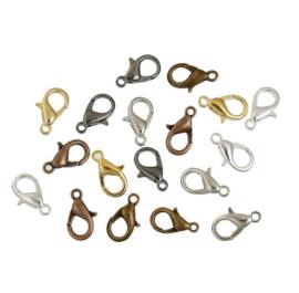 60 stuks karabijn sluitingen 14mm brons-zilver-goud kleur