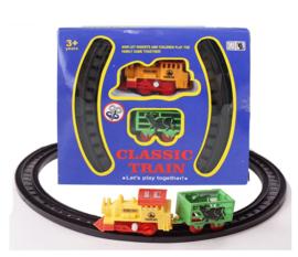 Treintje met rails kunststof - trein met aanhanger en 6 x rails