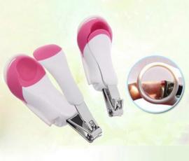 Baby nagelschaar met vergrootglas roze